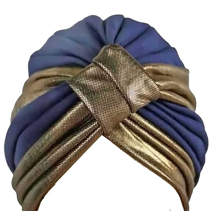1940s Hairstyles- History of Women's Hairstyles Blue Gold Trim Turban Head Cover Sun Cap Hat $18.99 AT vintagedancer.com