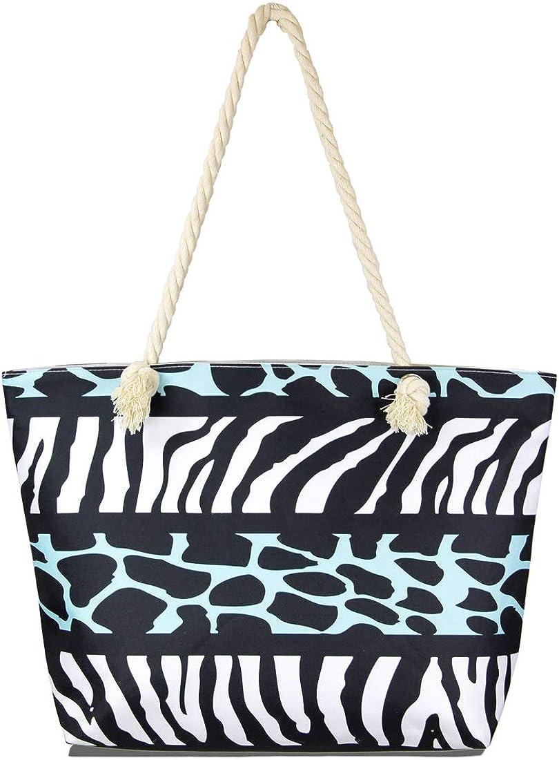 MIRMARU Women's Summer Large Beach Top Handles Tote Bag - Canvas Travel Shoulder handbags with Top Zipper Closure.