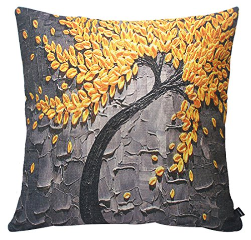 Jinbeile Oil Painting Yellow Flower And Black Tree Cotton Linen Throw Pillow Cover Case Cushion Home Sofa Decorative 18 X 18 Inch