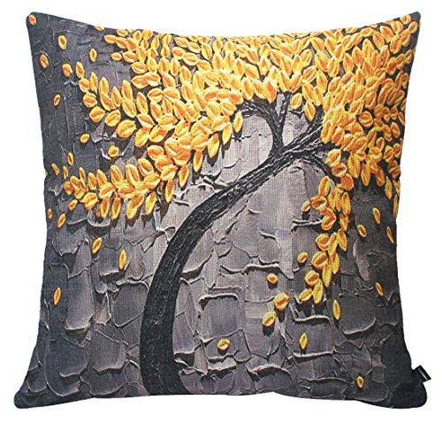 Jinbeile Oil Painting Yellow Flower Black Tree Cotton Linen Throw Pillow Cover Case Cushion Home Sofa Decorative 18 X 18 ()