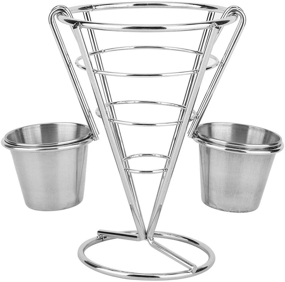 Plating French Fries Stand Buffet Cone Snacks Display Stand Fries Baskets, Cone Snack Fried Chicken Display Rack Fries Foods Stand Holder Fry Chips Metal Wire Basket(Double Cup)