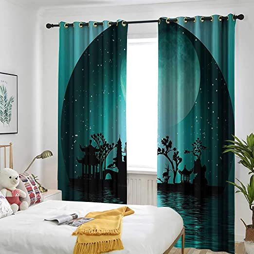 AndyTours Artsy - Cortina para Puerta corredera de baño, Color Azul Cielo Brillante con Nubes aisladas con Arandelas para recámara, Color Azul y Blanco: Amazon.es: Hogar