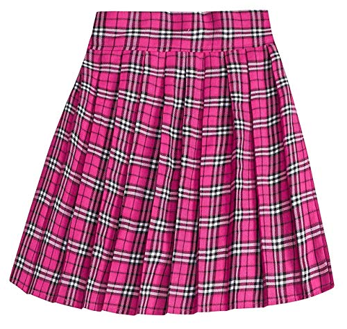 Women's High Waist School Uniform Cosplay Costume Plaid Pleated Skirt, Hot Pink, Tag XL = US L]()
