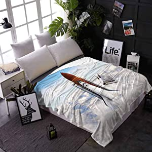 Fuzzy Blanket Outer Space Decor Lightweight Soft Cozy Warm for Couch Bed Sofa Rocket Taking Off on Mission Spaceman Planet Gazing Endeavour Power Fire Print 50 x 60 Inches White Blue Brown
