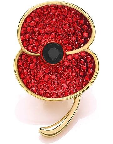 Enamel Badges Collectables Ladies Vintage Enamel Poppy Badges Brooch Flower Crystal Pin Badge Brooches 2019