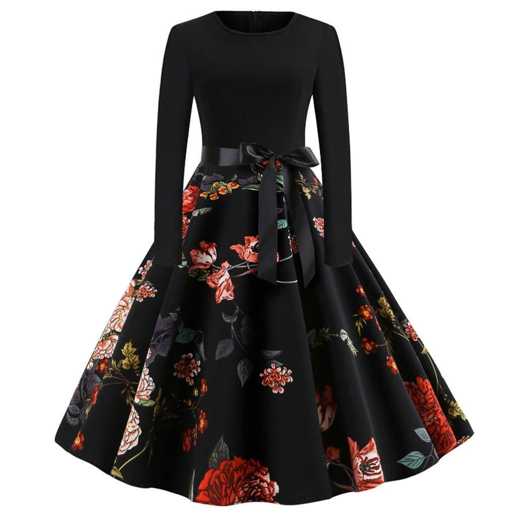 TIREOW Kleid Mode Damen Vintage Print Lässige Abendgesellschaft Prom Langarm Swing Kleider
