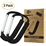 Pack of 2 XLarge Stroller Hook | Mommy Organizer for Hanging Diaper Shopping Bag (Black)