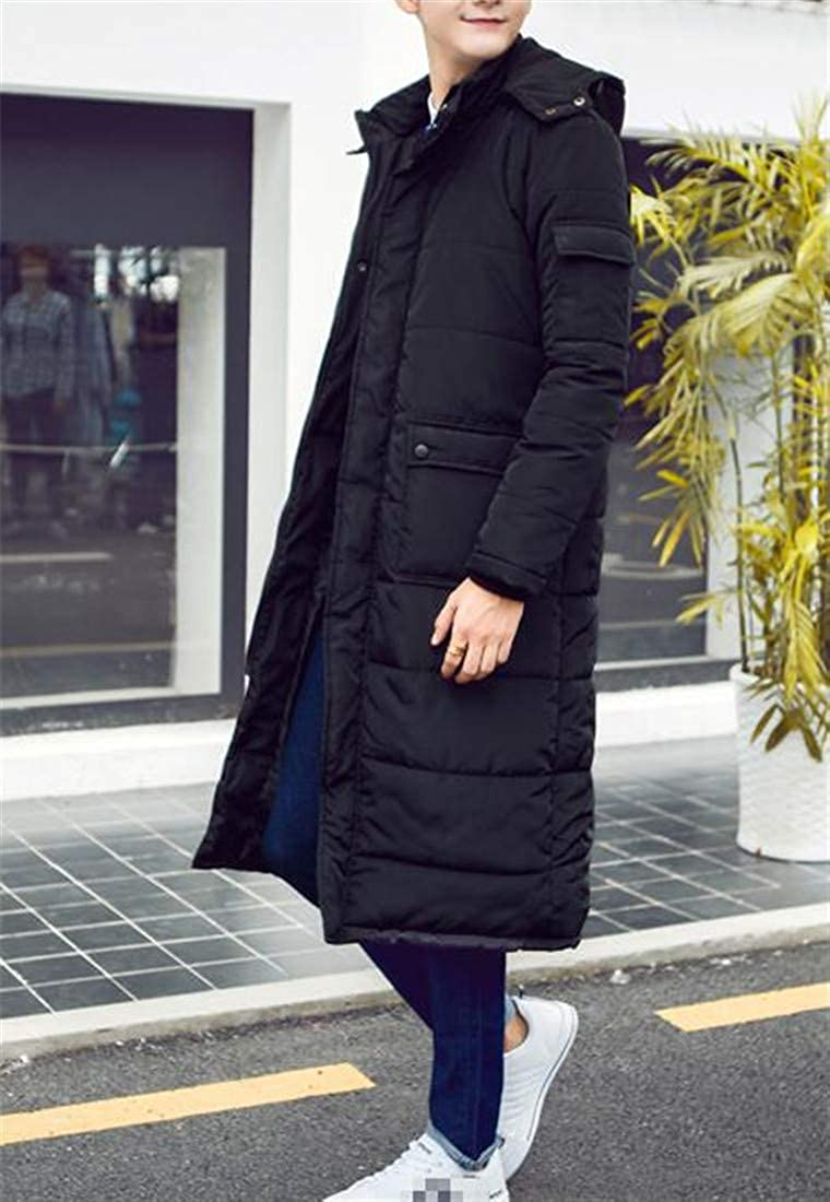 Hajotrawa Mens Hooded Thickened Overcoat Quilted Cotton-Padded Parkas Coat