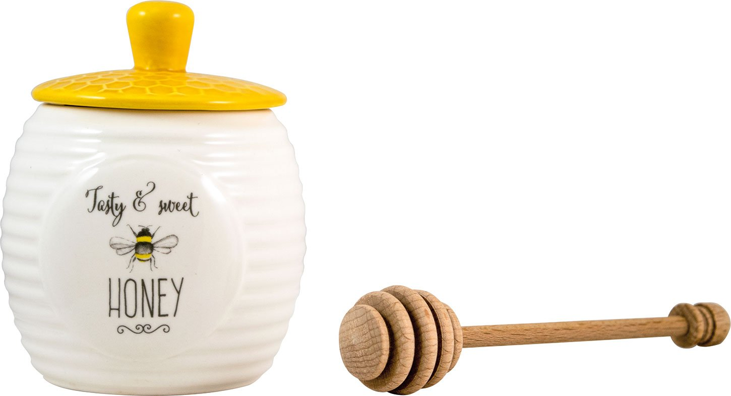 English Tableware Company Bee Happy Tasty and Sweet Honey Honey Pot with Wooden Dipper