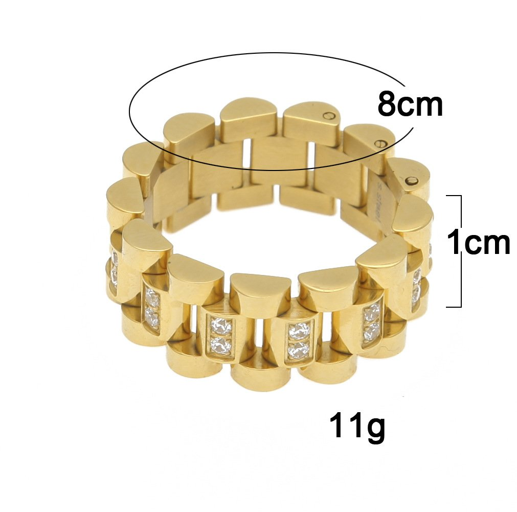 HongBoom Hot Hip Hop Rings 18K Gold Plated CZ CRYSTAL Fully Iced-Out Strap Ring (Gold/CZ/US size 8) by HongBoom (Image #3)