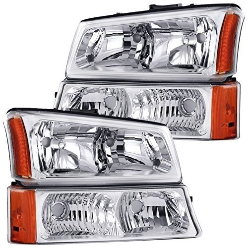 Style Headlights - RXMOTOR HL-CH912030CA 2003-2006 Chevrolet Silverado 1500 2500 3500 Headlights - [Factory Style] - Metallic Chrome Housing, Driver and Passenger Side