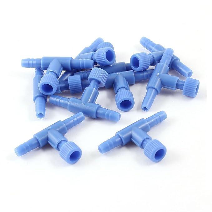 Valvula de aire - SODIAL(R)10 Piezes Tanque acuario de plastico Valvulas de control de bomba de aire de 2 vias, Azul: Amazon.es: Bricolaje y herramientas