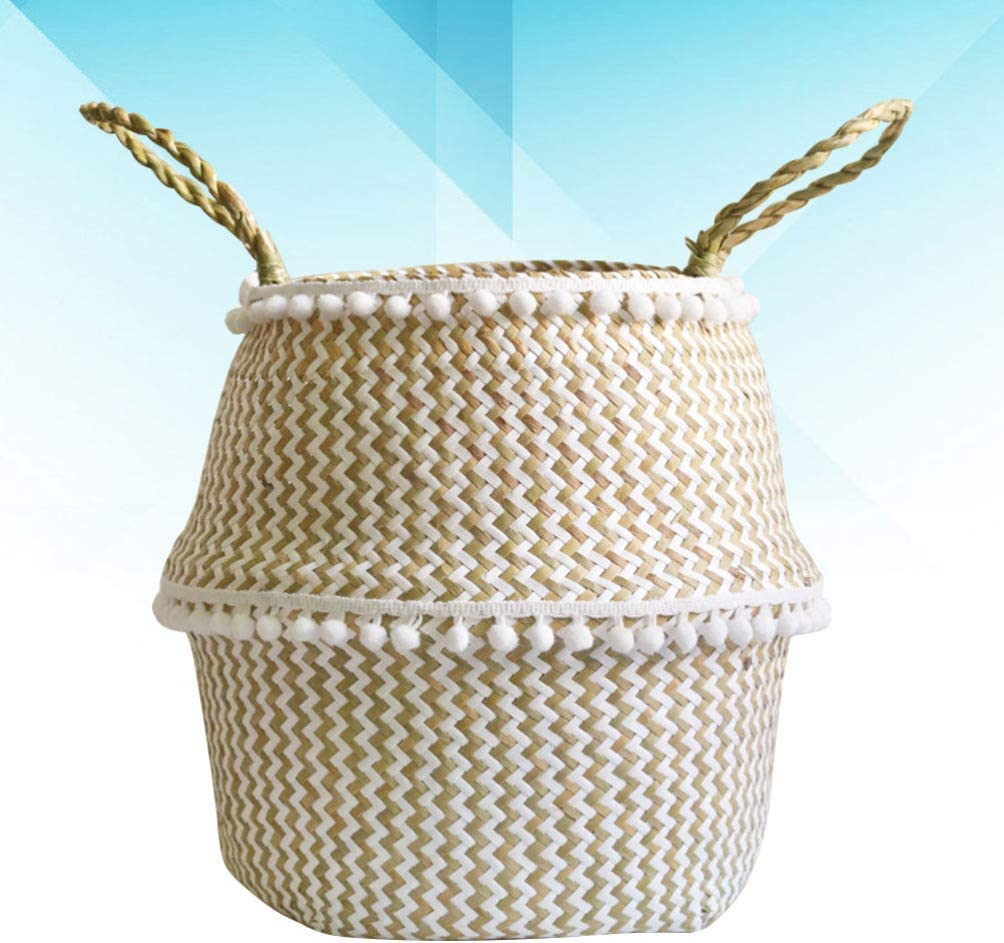 White Grid, Size S NUOBESTY Woven Storage Basket Woven Planter Basket Rope Nursery Laundry Basket with Handles for Toys Pot Plant Cover