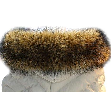MAGIMODAC Mujer Cuello Bufanda de Piel de Zorro Sintética para Chaqueta Abrigo Capucha 70cm-90cm (marron, 70cm): Amazon.es: Ropa y accesorios