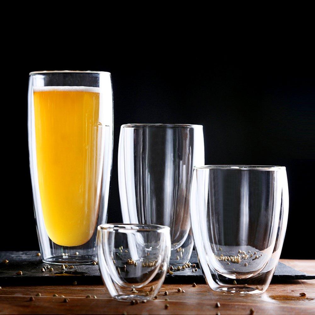 Doble pared de cerveza tazas de vidrio mousse helado tazas de leche taza de vidrio transparente bebidas jugo wiskey tubo -Clear glass set 100ml: Amazon.es: ...