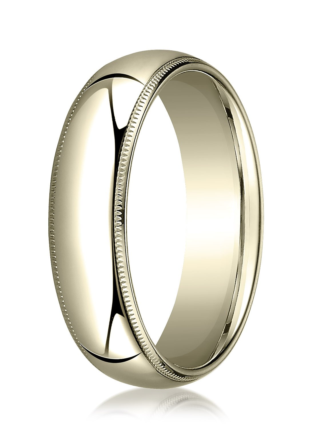Mens 18K Yellow Gold, 6mm Slightly Domed Comfort-Fit Ring with Milgrain (sz 11)