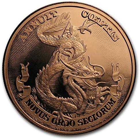 3枚・アメリカ「中国ドラゴンvs米国」1オンス・メダリオン・銅貨・銅 .999 赤金 メダル 1 oz カプセル クリアーケース付き