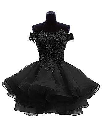 ac46073f395 ANGELA Women s Off The Shoulder Organza Short Prom Homecoming Dresses Black  0