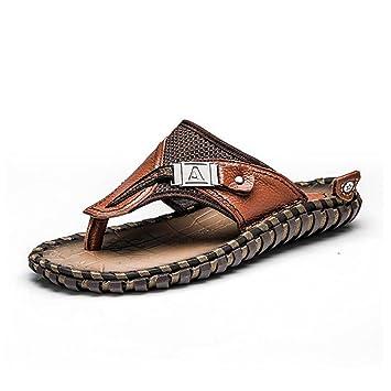 LXMEI Herren Flip Flops Schlupfhalsband atmungsaktiv Strand-Schuhe Sandalen Flip Flop Schwarz Braun