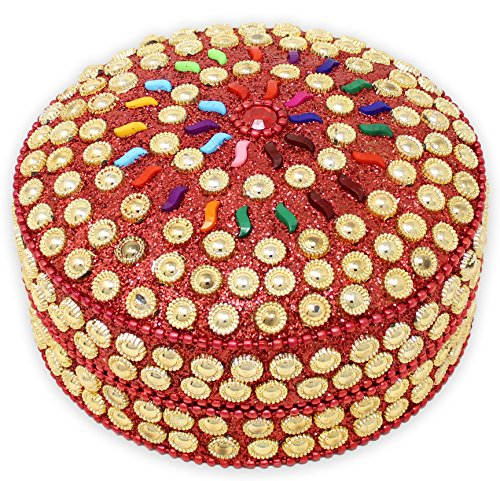 SKAVIJ Metal and Bead Handmade Decorative Jewelry Gift Box (4 Inch, Gold Red)