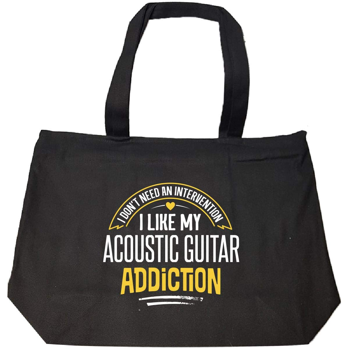Tote Bag With Zip Funny Acoustic Guitar Gift I Like My Addiction Loves Present