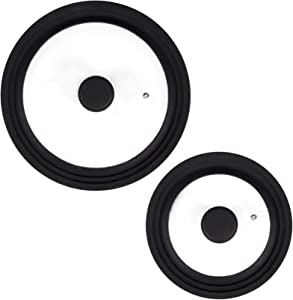 Yesland 2 Pcs Universal Lids for Pots Pans & Skillets - Replacement Lids, Pan Lid - Tempered Glass with Heat Resistant Silicone Rim Pot Lid, Fit 7 to 12 Inch Frying Pan, Cookware(Black, Large & Small)