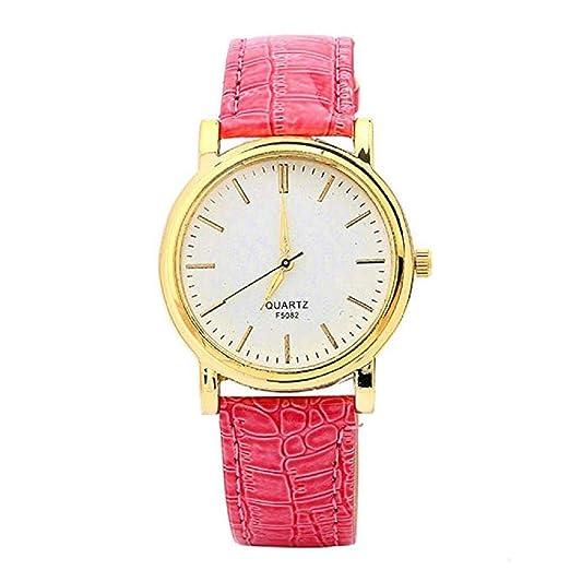 Scpink Relojes de Cuarzo para Mujer Liquidación Relojes de Pulsera para Mujer Relojes analógicos Relojes de Cuero para Mujeres (Rosa roja): Amazon.es: ...