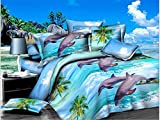 Getmorebeauty Blue Sea Dolphin Soft Duvet Cover Set Queen Size (Dolphin)