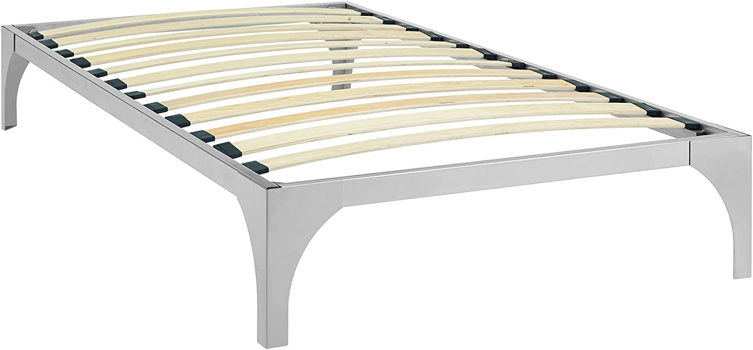 Modway Ollie Steel Modern Twin Platform Bed Frame Mattress Foundation with Slat Support in Silver
