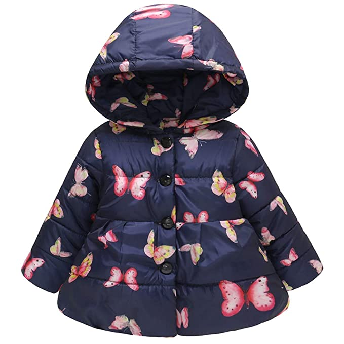 Toddler Baby Girl Boy Butterfly Winter Thick Warm Jacket Hooded Windproof Coat
