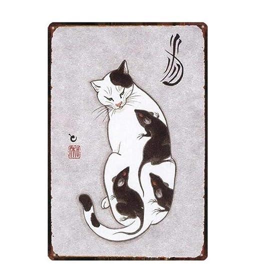 qnmbdgm Estaño Metal Pintura Hierro Cartel Gato Tatuaje Gato ...