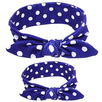 SKEPO 2 Pieces Girls Baby Mummy Rabbit Ear Headband Parent-child Hair Band Headdress Set