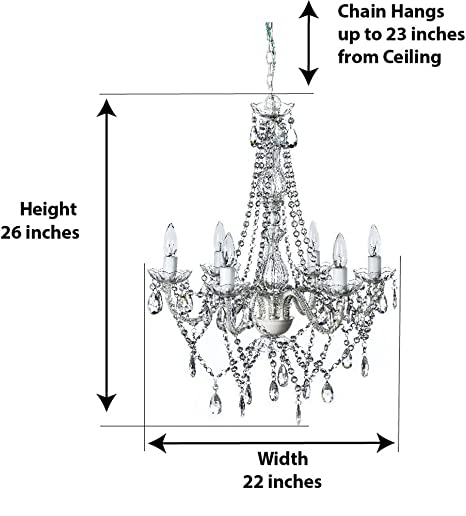 The Original Gypsy Color 6 Light Large Crystal Chandelier H26 W22 White Metal Frame With Clear Acrylic Crystals Better Than Glass