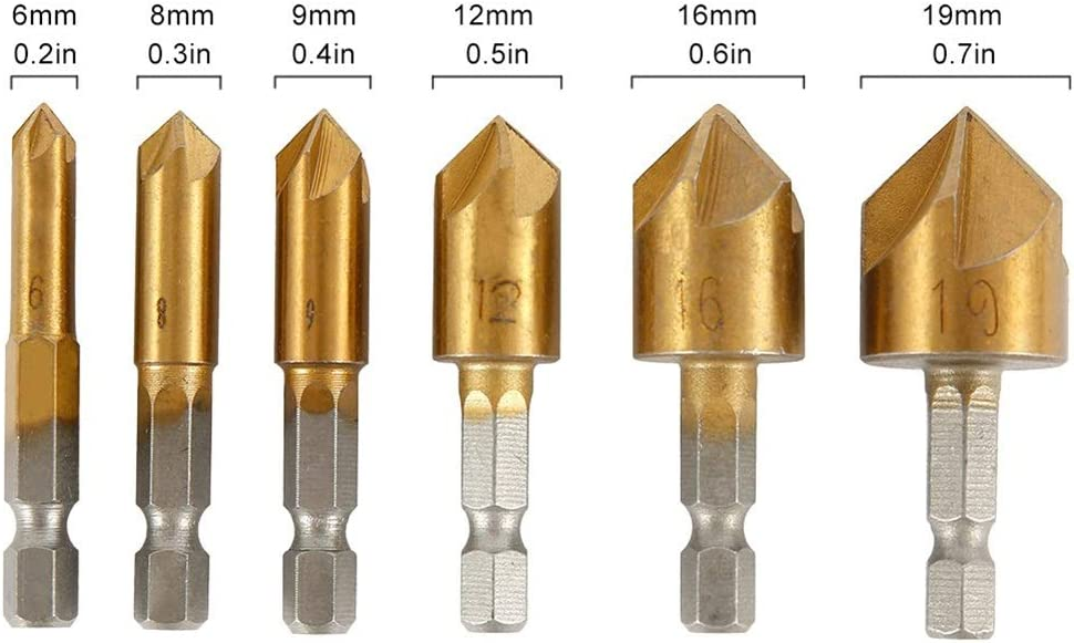 Firm Drill Bit 6pc Hexagon Shank Titanium Coated 5 Slot Hole Chamfer Drill Bit 1//4 Coated Woodworking Core Drill Bit Power Tool Woodworking Long Lasting
