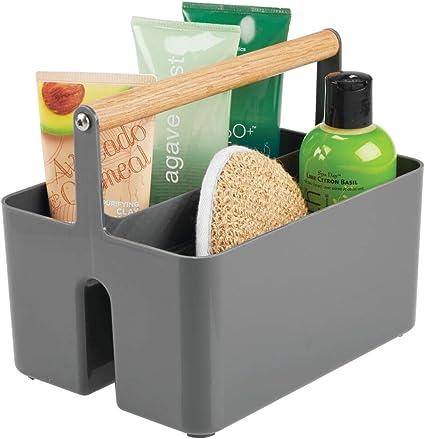 mDesign Caja organizadora portátil para baño – Caja de plástico ...