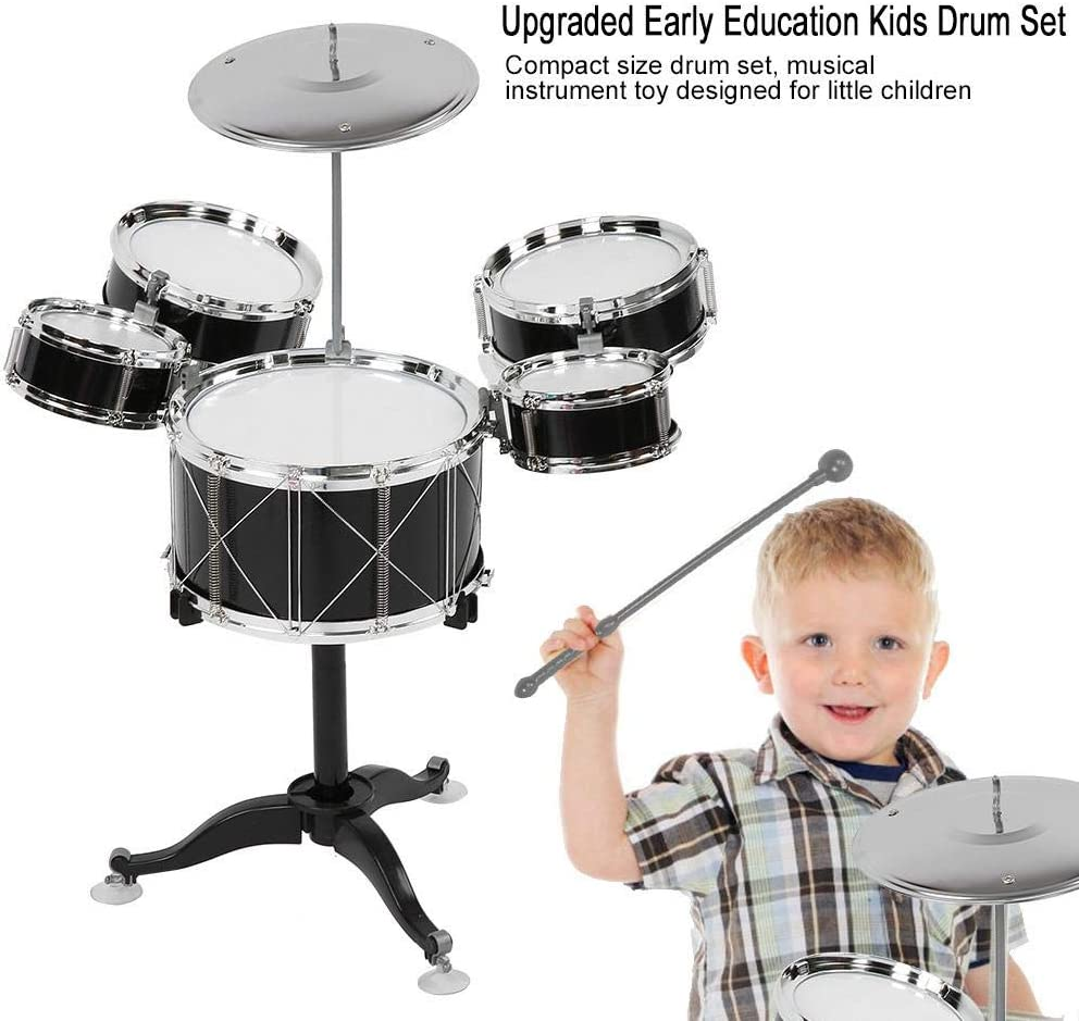 Schwarz Zerodis Kinder Junior Drum Set Fortgeschrittenes Kit f/ür Kinder Musikinstrument Kinderspielzeug