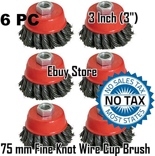 """4 Wire Cup Brush Wheel 3/"""" Angle Grinder Twist Knot for 4-1//2/"""" 75mm 115mm"""