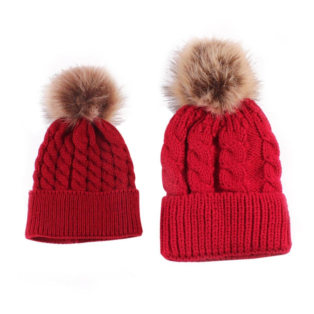 2PCS Parent-child Hat, Mother Baby Warm Knit Hat Fur Wool Beanie Ski Cap Womdee