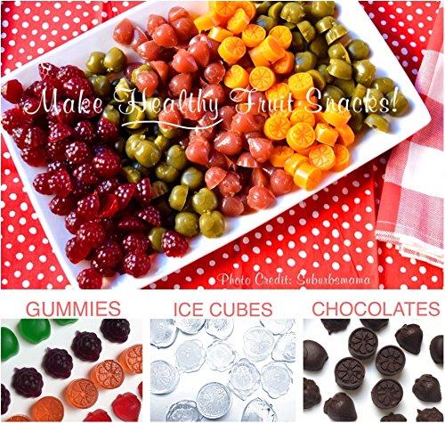 61M452jX9VL - My Fruit Shack DIY Fruit Snacks Kit - 4 BPA-Free LFGB/FDA Grade Silicone Molds (Makes 184 Gummies Total), 4 Plastic Trays, 2 Droppers and 1 Basic Recipe Page