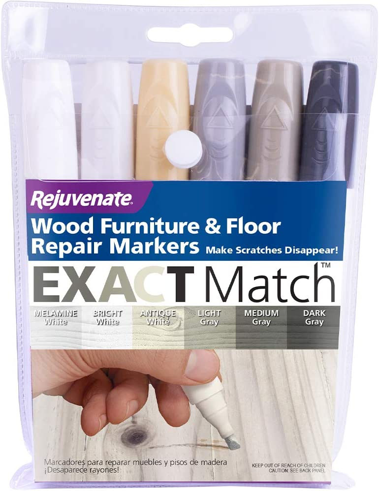 Rejuvenate Exact Match Wood Furniture and Wood Floor Repair Markers for White Furniture & Gray Furniture and Floors - 6 Colors
