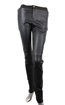 c85e27a5997 Amazon.com  Gucci Women s Leggings Black Lamb Leather Stretch Pants ...