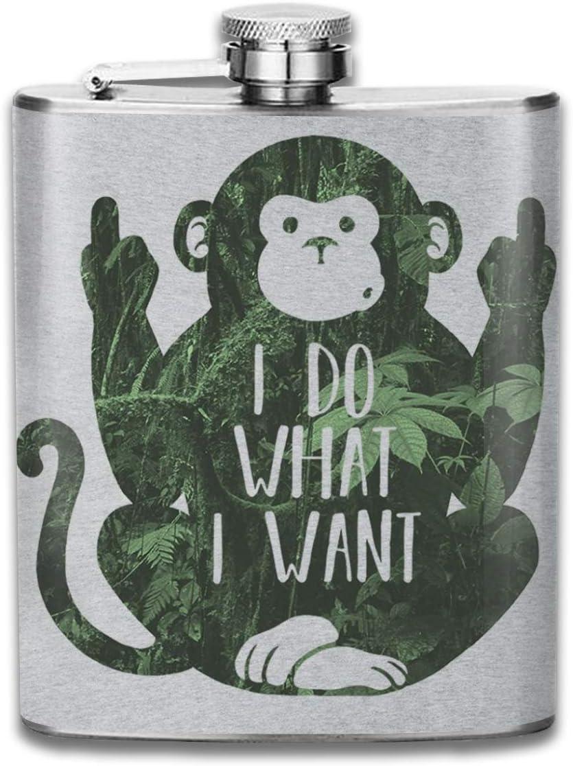 "tragbar 200 ml Edelstahl Flachmann mit Aufschrift /""I Do What I Want Monkey/"""