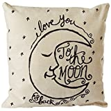 """CoolDream I Love You to the Moon and Back Cotton Throw Pillow Case Vintage Cushion Cover 18"""" x 18"""""""