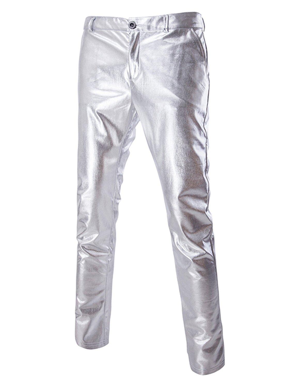 ZEROYAA Mens Night Club Metallic Gold Suit Pants/Straight Leg Trousers 34/Tag Asian XXL Silver