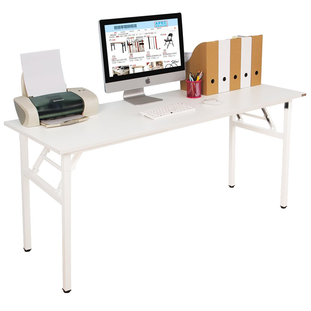 Need Computer Desk Office Desk 63'' Folding Table with BIFMA Certification Computer Table Workstation, White
