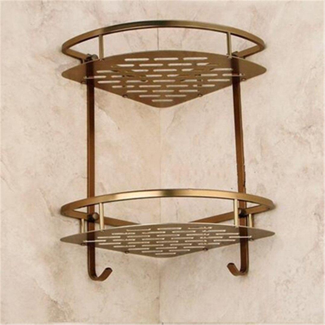 Bath Corner Shelf Antique Bronze Bathroom Shower Shelf Shampoo Holder 2 Level C