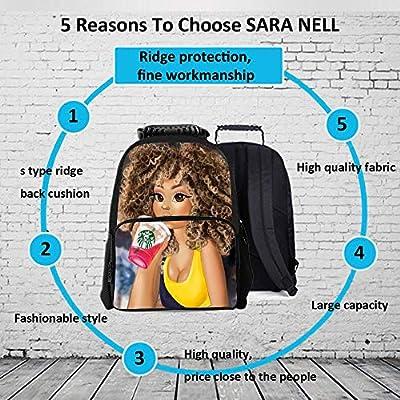 SARA NELL Black Art Afro Girl Drink Juice African American Girl Children School Backpack Bag Book Bag For Boys Girls | Kids' Backpacks