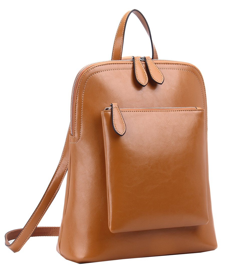 Heshe Women's Vintage Leather Backpack Casual Daypack for Ladies and Girls (Brown-R-D) by HESHE
