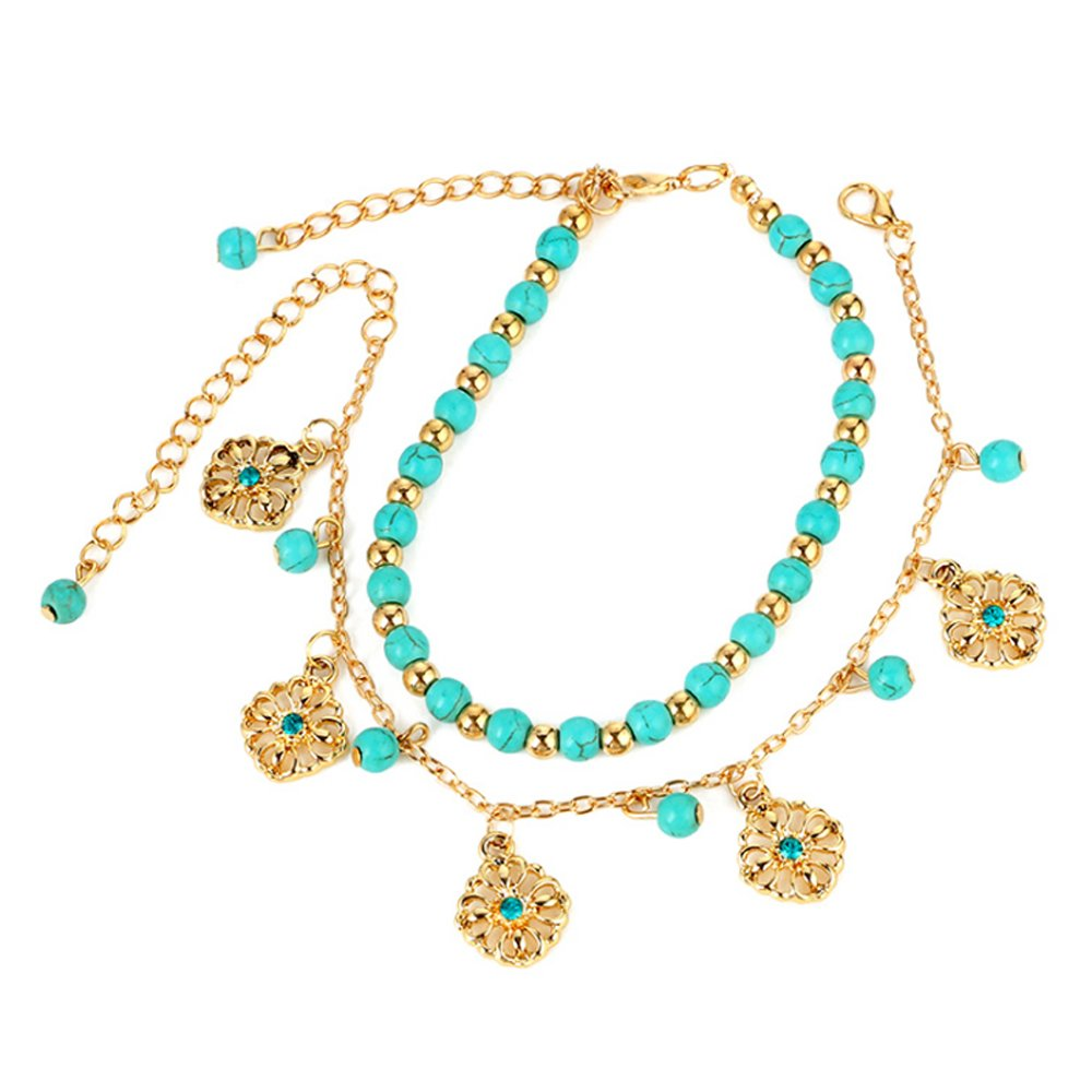Boho Rhinestone Flower Beads Turquoise Foot Chain Anklet Naisidier