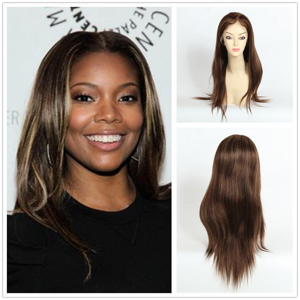 Amazon.com   Wigsroyal Top Quality Human Hair Lace Wigs For Black Women  Best Light Yaki Indian Remy Hair Wigs 18 Inch 4 27  highlights Large Cap  Size   ... 7027e98a8
